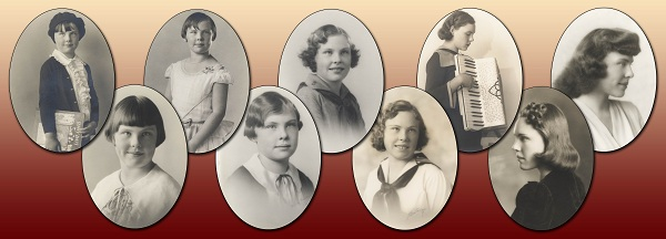 Cameo portraits of Catherine Mulholland, ages six to eighteen, 1929-1941.