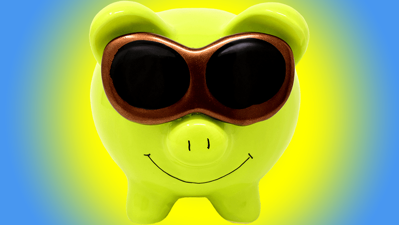 Happy green piggybank