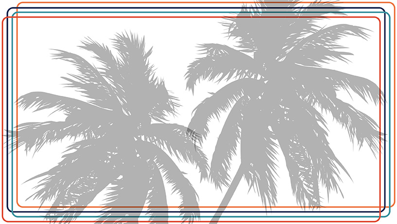 Outline with Palm Trees