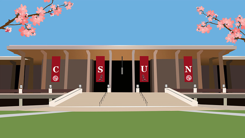 CSUN University Library Vector Image with Flowers
