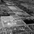 Aerial view of CSUN showing the Fine Arts Buildings and others around it, ca. 1960s