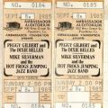 Ticket stubs for a concert featuring Peggy Gilbert and The Dixie Belles, dated September 8th, 1985.