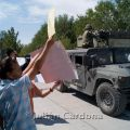 Anti-Military protest against kidnappings by the army at the main barracks, Juárez, 2008