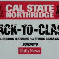 """Back-To-Class"" poster advertising an earthquake edition of the Los Angeles Daily News, featuring the California State University, Northridge spring 1994 schedule of classes."