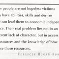 "Excerpt from ""Help Yourself, Part II: To Succeed in Business, Low-Income Women Need Some Help and Seed Money,"" written by CWED Executive Director Forescee Hogan-Rowles and featured in the ""Getting Beyond Victimization"" edition of The New Democrat (vol. 5, no. 4, pages 23-24), November 1993."
