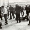 San Fernando Valley State College students are confronted by police officers, 1968. University Archives