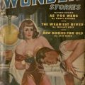 """Cover of Thrilling Wonder Stories. Image depicts woman drawn in the pin-up """"style"""" by artist Earle Bergey. P1 .T57, vol.36 no.3 August 1950"""