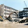 Demolition of the Oviatt Library's East Wing following the earthquake