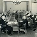 Photograph of delegates of the 23rd International Convention of the Retail Clerks International Association at a group meeting. Convention held in Los Angeles on June 22, 1959.