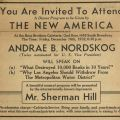 Announcement for Andrae B. Nordskog's The New America dinner program, The Gridiron, volume 7, number 1, page 5, December 16, 1932
