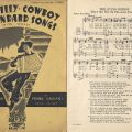 """Cover and musical score, """"The Dying Cowboy,"""" Hill Billy, Cowboy and Standard Songs, with Words: For the Piano Accordion. [M175.A4 G284 1935]"""