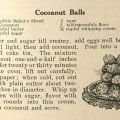 "Page 7 of ""Baker's Cocoanut Recipes"" featuring a recipe for Cocoanut Balls, 1911. Culinary Pamphlet Collection."