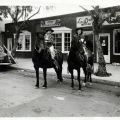 Saddled up for Fiesta Days in front of the Las Delicias Café, 1946