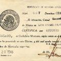Certificate of of Mexican citizenship of Antonio Regalado Calvo, 1946