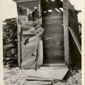 Photograph of a shed located on Victory Boulevard in Van Nuys, one of many structures in the area that was abandoned before being constructed completely.