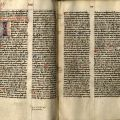 """First page of the Gospel of """"Joha-nes,"""" or John in a manuscript New Testament in Latin that dates from the 14th century"""