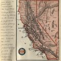 Journal page with a map of Southern Pacific train routes to Del Monte, Monterey, and Pacific Grove.