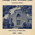 Booklet showing the new Canoga Park Women's Club clubhouse. The new clubhouse was located on the corner of Jordan Avenue and Valerio Street in Canoga Park, California, 1941-1942.