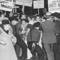 Rally of the United Anti-Nazi Conference outside the Los Angeles headquarters of the German American Bund, circa 1936..