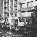 Deutsche Fahnen, German Flags, on Broadway Street in Los Angeles in April, 1936.