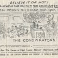 """Brochure illustration from The Conspirators, """"A Financial War"""" by Leslie Fry of Glendale, California. The illustration appeared in London Free Press. October 1936."""
