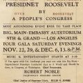 Flyer advertising a rally for the impeachment of President Frank Delano Roosevelt, hosted by Friends of Progress, a California association run by Robert Noble and Ellis Jones, 1941.