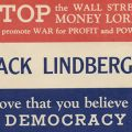 "Flyer, ""Back Lindbergh,"" naming Charles Lindbergh as a supporter of the America First Committee, ca. 1941."