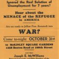Flyer for a meeting featuring Joseph E. McWilliams, head of the Christian Mobilizers, at McKinley Square Garden in the Bronx, New York, ca. 1940.