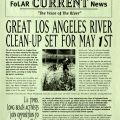"""Friends of the LA River Newsletter, April 1993. """"Great Los Angeles River Clean-Up Set for May 1st."""" Los Angeles City Planning Commission Collection"""