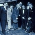 Campus ground breaking in 1956. Governor Goodwin Knight (center) and Roy Simpson (right) pose with shovels.