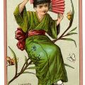 Female character from the Gilbert and Sullivan opera, The Mikado, advertising a manufacturing company