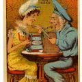 """Two characters from the Gilbert and Sullivan opera, """"H.M.S. Pinafore,"""" advertising for St. Louis Beef Canning Company. HF5851.G44"""