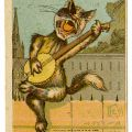 A feline adaptation of a character from the Gilbert and Sullivan opera, The Mikado, advertising for the Great Family Wine & Bottling Company