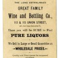 Backside of The Mikado card advertising for the Great Family Wine & Bottling Company