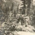 Hikers standing on a mountain, ca. 1922. Johnson Family Echo Lake Photograph Collection
