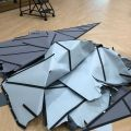"""The uninstalled construction-paper mountain range from the """"Right of Way"""" exhibit"""