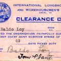 ILWU member Baldo Loy's Strike Clearance Card from 1948