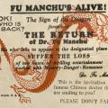 Advertisement for visit by Dr. Fu-Manchu to the Plaza Theater in Cavite, Philippines, May 1931 (back)