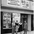 "Campaign associates in front of the North Hollywood field office for the ""No on Proposition 18"" campaign, located at 5637-1/2 Lankershim Boulevard, 1958."