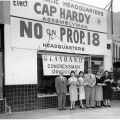 """Campaign associates in front of the Reseda field office for the """"No on Proposition 18"""" campaign, 1958"""