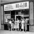 "Campaign associates in front of the Burbank field office for the ""No on Proposition 18"" campaign, located at 241 South San Fernando Road, 1958."