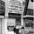 "Campaign associates in front of the San Fernando field office for the ""No on Proposition 18"" campaign, located at 820 San Fernando Road, 1958."