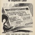 """""""Hearst Unfair"""" flyer produced by the Herald-Examiner Joint Strike-Lockout Council. Los Angeles Newspaper Guild Collection."""