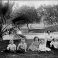 Lillie Mulholland and children at Hollenbeck Park, circa 1898. Catherine Mulholland Collection.