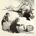 Preliminary drawing for a political cartoon which comments upon Senate's attempts to divide the LAUSD. Published in the Valley News, Van Nuys on August 14, 1970.