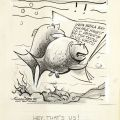 Preliminary drawing for a political cartoon regarding DDT pollution in the Santa Monica Bay. Published in the Valley news, Van Nuys on October 2, 1970.