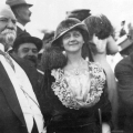 Harrison Gray Otis, Ellen Beach Yaw, and William Mulholland at the dedication and opening day ceremonies for the Los Angeles Aqueduct, 5 November 1913. Catherine Mulholland Collection.