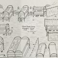 Drawing of the living quarters at Ward Road Camp, Shanghai where Zimmerman lived from 1942 to 1945