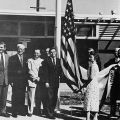 President of Associated Students, Ben Rude (center) with faculty and administrators at the satellite campus opening in 1956.