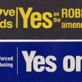 "Bumper stickers by Californians Against Forced Busing voicing support for the ""Robbins Amendment"" (Proposition 1), 1979. Daily News Morgue Files of the Bustop Campaign Collection"